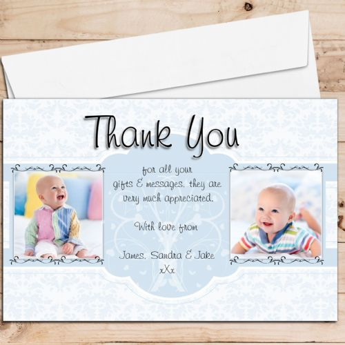 10 Personalised Birth / Christening / Baptism Thank you PHOTO Cards N208
